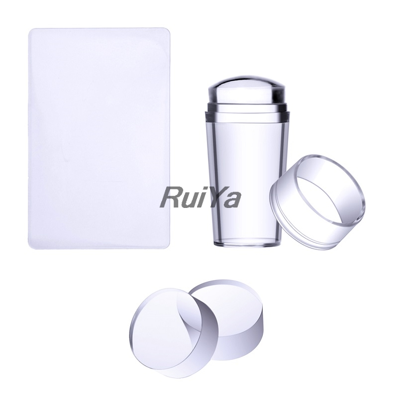 Nail Art Templates Pure Clear Jelly Silicone Nail Stamping Plate Scraper With Cap Transparent 2.8cm Print Nail Stamper Tool