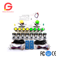 Zero Delay Pc Arcade Game DIY Parts Kit 2X 8Way Joystick + 16X Chrome Illuminated Button- Support All Windows Systems