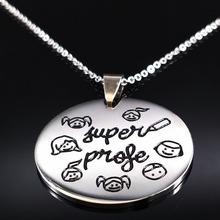 Teacher Day Gifts Stainless Steel Necklaces Choker Jewelry Women Kids Child Student Souvenir Jewelry la mejor profesora N17782B