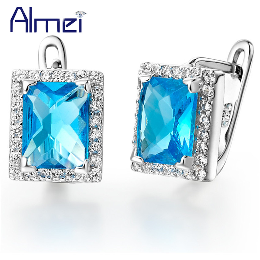 Almei 15% Bride Earrings Silver Color For Women Jewelry Brincos Vintage Square Stud Earring Blue Crystal Jewellery Ohrring R142