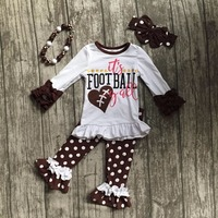 It S Football Yall Children Clothes Fall Suit Baby Girls Brown Boutique Pant Ruffle Dot Long