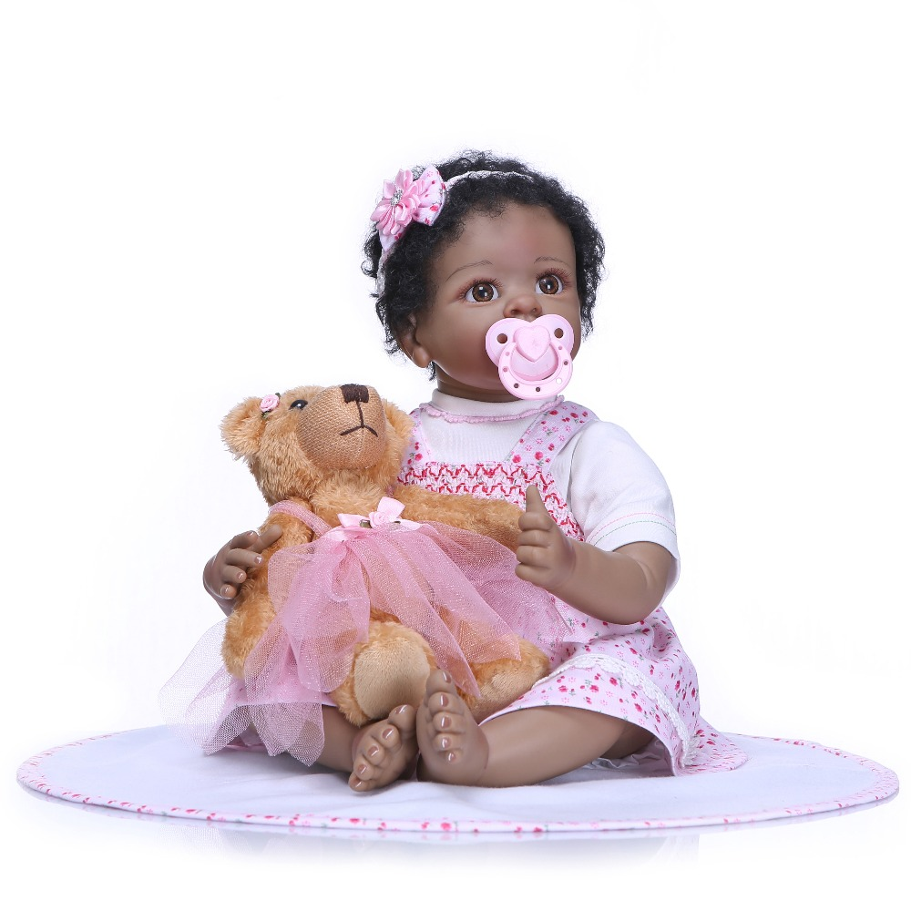 NPK 55 cm بيبي realista تولد من جديد نابض بالحياة دمية فتاة تولد من جديد سيليكون دمى لعب للأطفال عيد الميلاد هدية bonecas ل الاطفال-في الدمى من الألعاب والهوايات على  مجموعة 1
