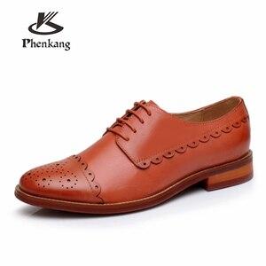 Image 1 - Zapatos planos de piel de oveja genuina brogue yinzo para mujer zapatos oxford hechos a mano vintage invierno rojo amarillo, naranja 2020