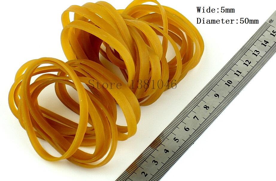 20pcs Wide 5mm Light Brown Rubber Band Strong Elastic Band Office Supply
