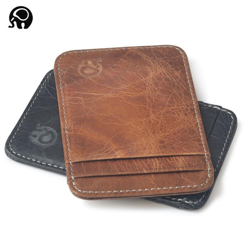Carteira de couro legítimo para homens, carteira masculina compacta feita em couro legítimo com compartimento para cartões de crédito, com espaço para cartões de crédito nova varal