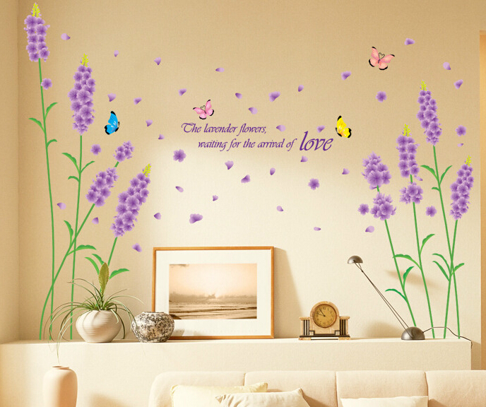 Butterfly Quotes Wall Decal for Girl Baby Room Wall Sticker Lavender Flowers Waiting for the Arrival of Love Wallpaper