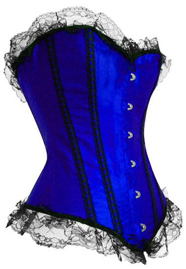 Free Shipping Sexy blue satin corset busiter lace up Overbust  bodyshaper S-5XL