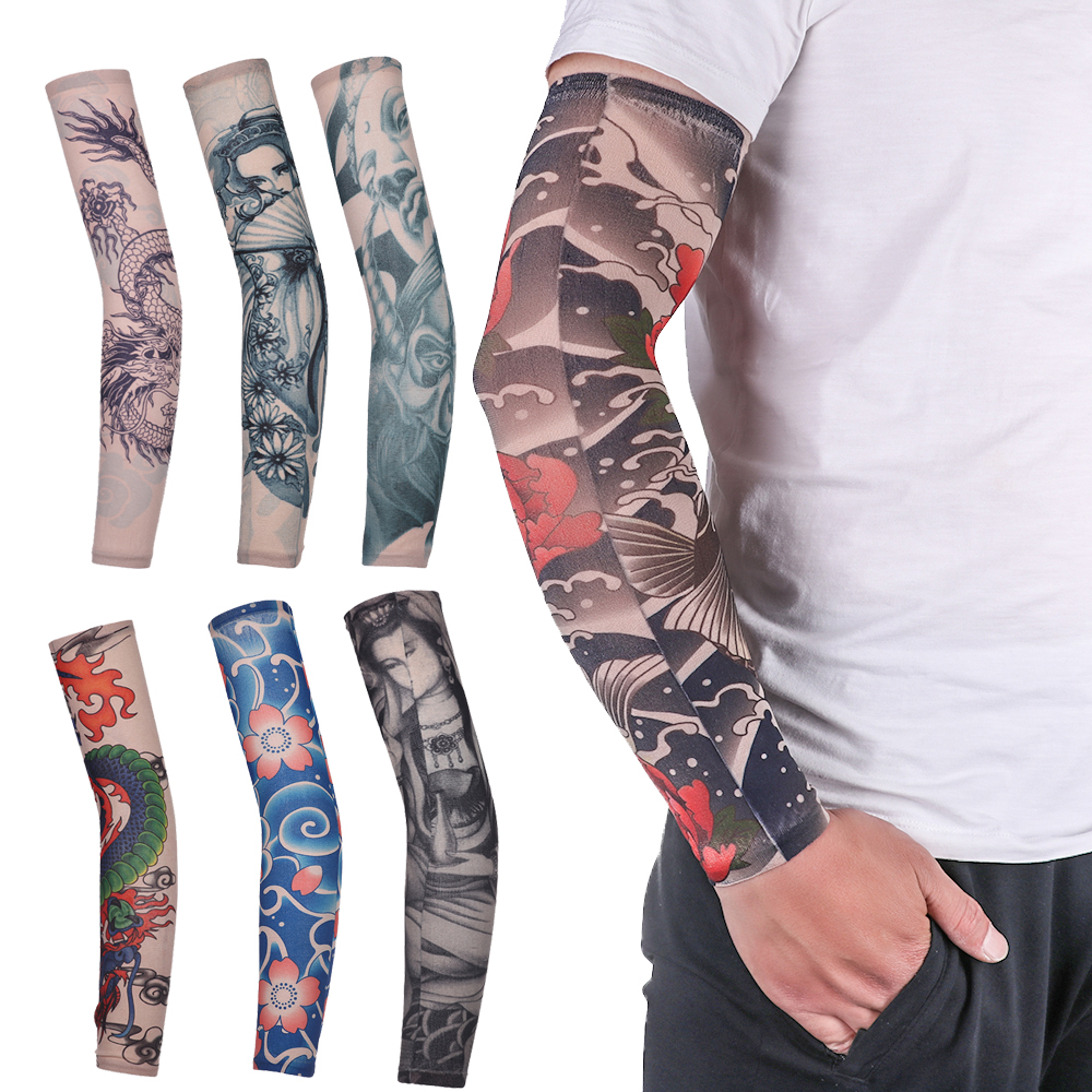 Unisex Men Women Fashion Nylon Outdoor Temporary Tattoo Fake Tattoo Arm Warmers Running Cycling Sports UV Protection Arm Sleeves