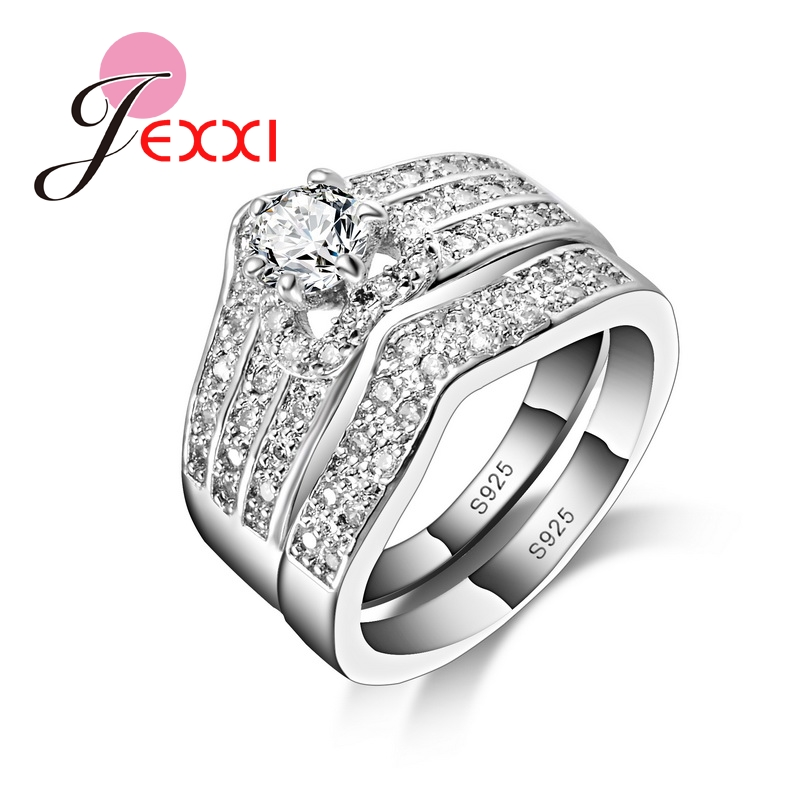 JEXXI Size 6 7 8 9 Fashion Classic CZ Engagement Wedding Ring Set 925 Sterlin