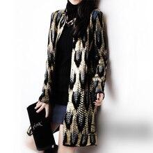 2015 Autumn New The peacock printing Knitting Long Cardigan Ladies Sweater Women Coat Outwear Snake Pattern Bronzing Tops