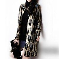 2015 Autumn New The Peacock Printing Knitting Long Cardigan Ladies Sweater Women Coat Outwear Snake Pattern