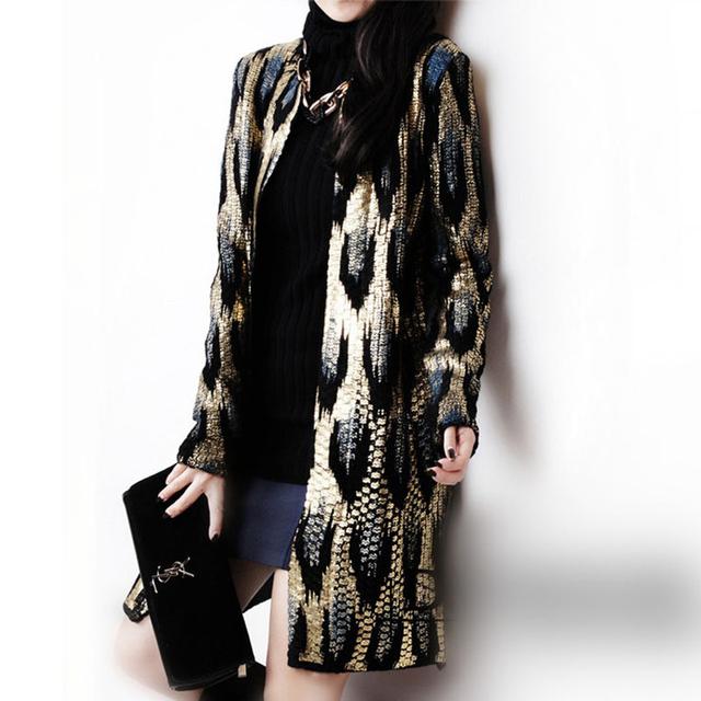 2015 Outono Nova Do pavão impressão Knitting Longo Cardigan Camisola Das Senhoras Revestimento Das Mulheres Outwear Padrão Cobra Bronzing Tops