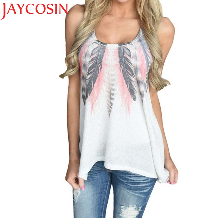 JAYCOSIN Summer Women's Vest Tank Top T-Shirt SLeeveless O Neck Feather Print Top Female 2017