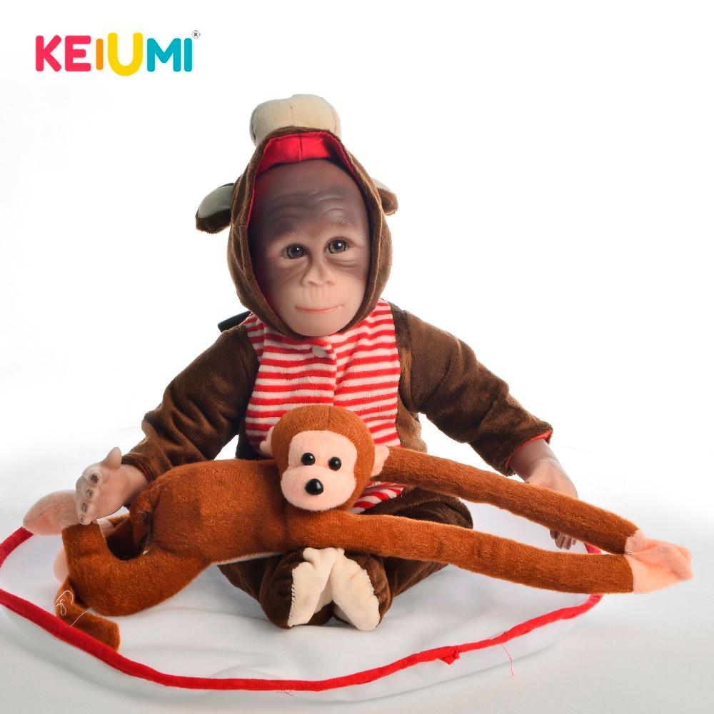 KEIUMI New Style 19 Inch Baby Doll Toy Monkey Cloth Body Silicone 46 cm Soft Realistic
