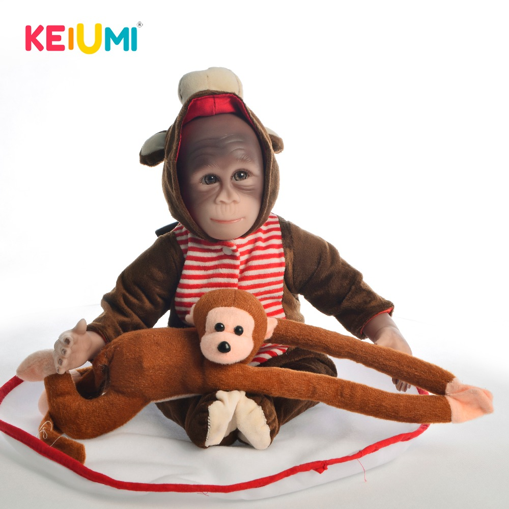 KEIUMI New Style 19 Inch Baby Doll Toy Monkey Cloth Body Silicone 46 cm Soft Realistic Reborn Dolls Cosplay Apes Children Gift