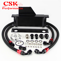13 Row AN10 Racing Engine Oil Cooler Kit Fits For 01 05 Subaru Impreza WRX/STi Silver/Black