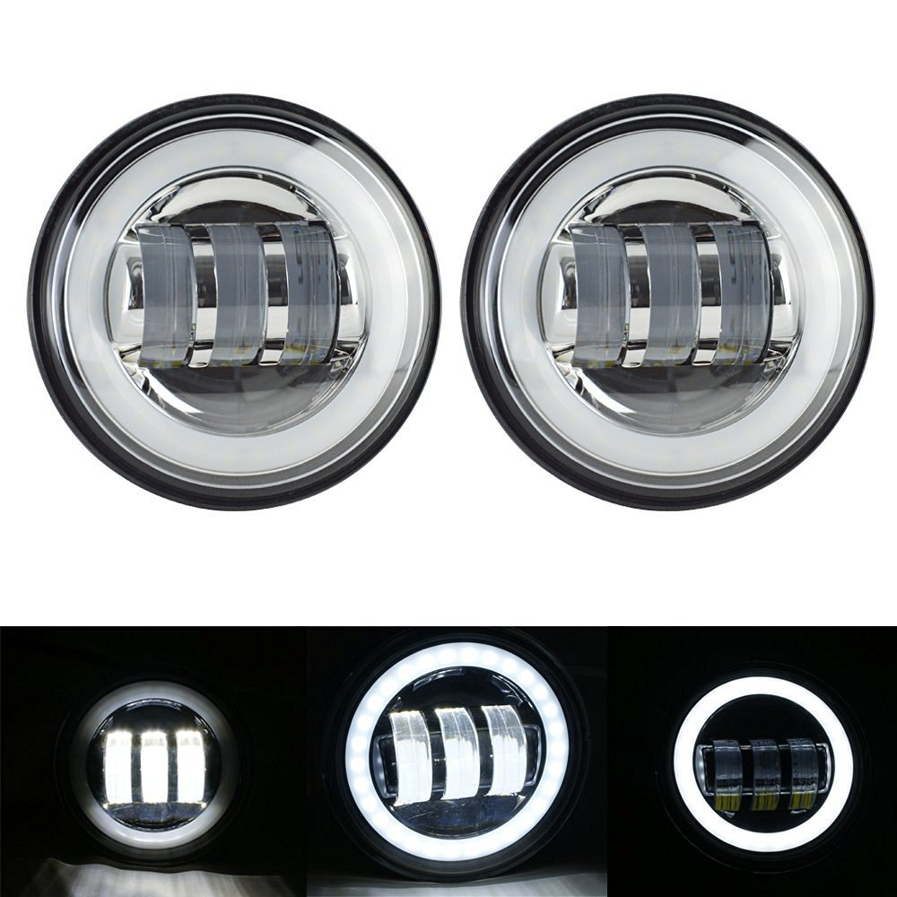 2PCS 4.5 Inch LED Auxiliary Spot Fog Lighting Lamp Passing Projector Light with Angel Eyes Halo Ring White For Harley Motorcycle 2pcs waterproof projector led fog light with lens halo angel eyes rings cob 30w xenon white blue 12v suv atv off road fog lamp