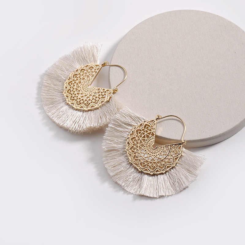 HUIDANG 2018 Fashion Flower Hollow Metal Fringed Tassel Statement Earrings for Women