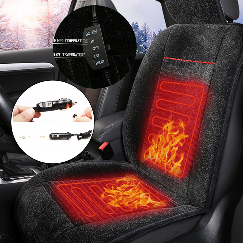 Universal 12V Front Heated Car Seat Cushion Electric Winter Auto Warmer Pad Black Plush Cover 1 Piece