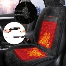 Universal 12V Front Heated Car Seat Cushion Electric Heated Winter Cushion Auto Warmer Pad Black Plush Car Seat Cover 1 Piece цены