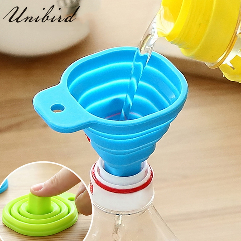 Unibird 2Pcs/Set Silicone Foldable Funnel Mini Collapsible Style Telescopic Hopper Kitchen Oil Leak Cooking Tool