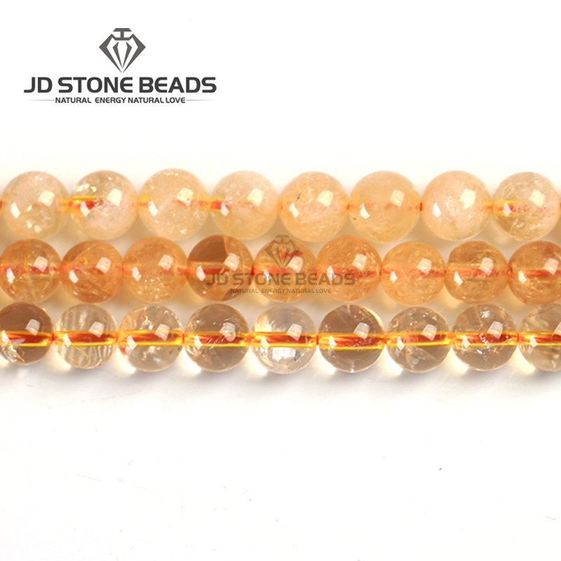 A 3A 5A Nature Citrine Beads Handmade DIY Bracelet Necklace Pendant Ornaments Personalized Accessory For Jewelry Making