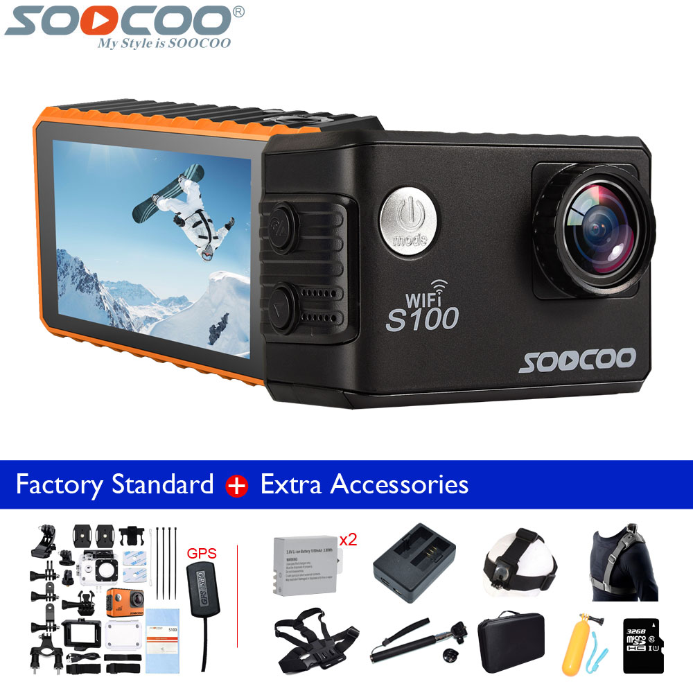 Original SOOCOO S100 4K Wifi Action Camera 20MP Waterproof Bicycle Sports Camcorder DV+1050mAh Battery+Charger+Many Accessories soocoo c30 sports action camera wifi 4k gyro 2 0 lcd ntk96660 30m waterproof adjustable viewing angles