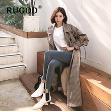 RUGOD Vintage long Office Ladies Plaid Blazer korean sleeve lace up  Pocket Women Long Jacket Fashion patchwork auturm coat