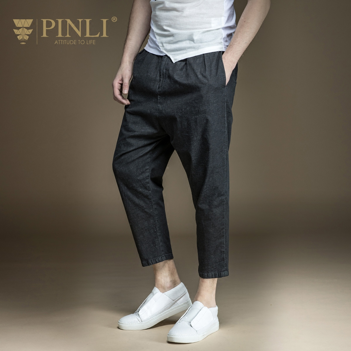 Pinli Time limited Acetate Zipper Fly Knee Length Product 2017 New Summer Men s Crotch Pants