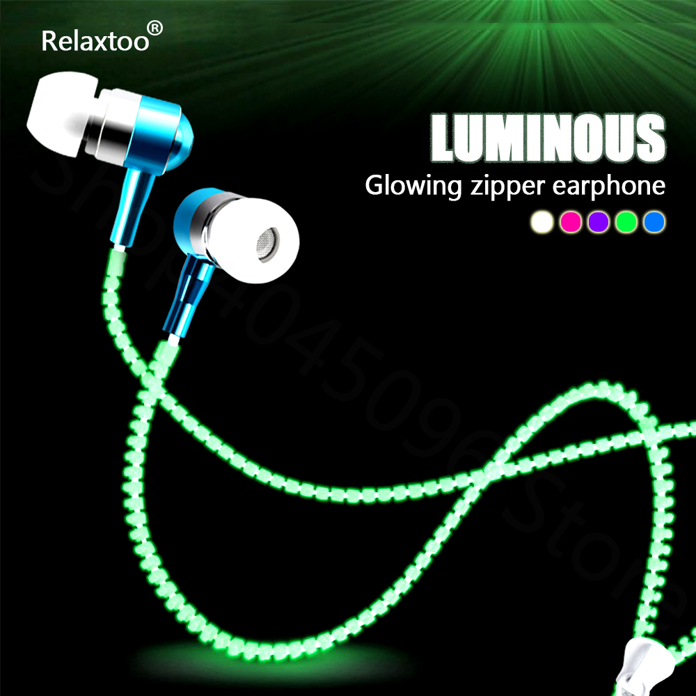 In-ear Glowing Zipper Earphone Luminous Headset Sport Earbuds Music Wired Earphones for iPhone Samsung Xiaomi Huawei 3.5mm Plug