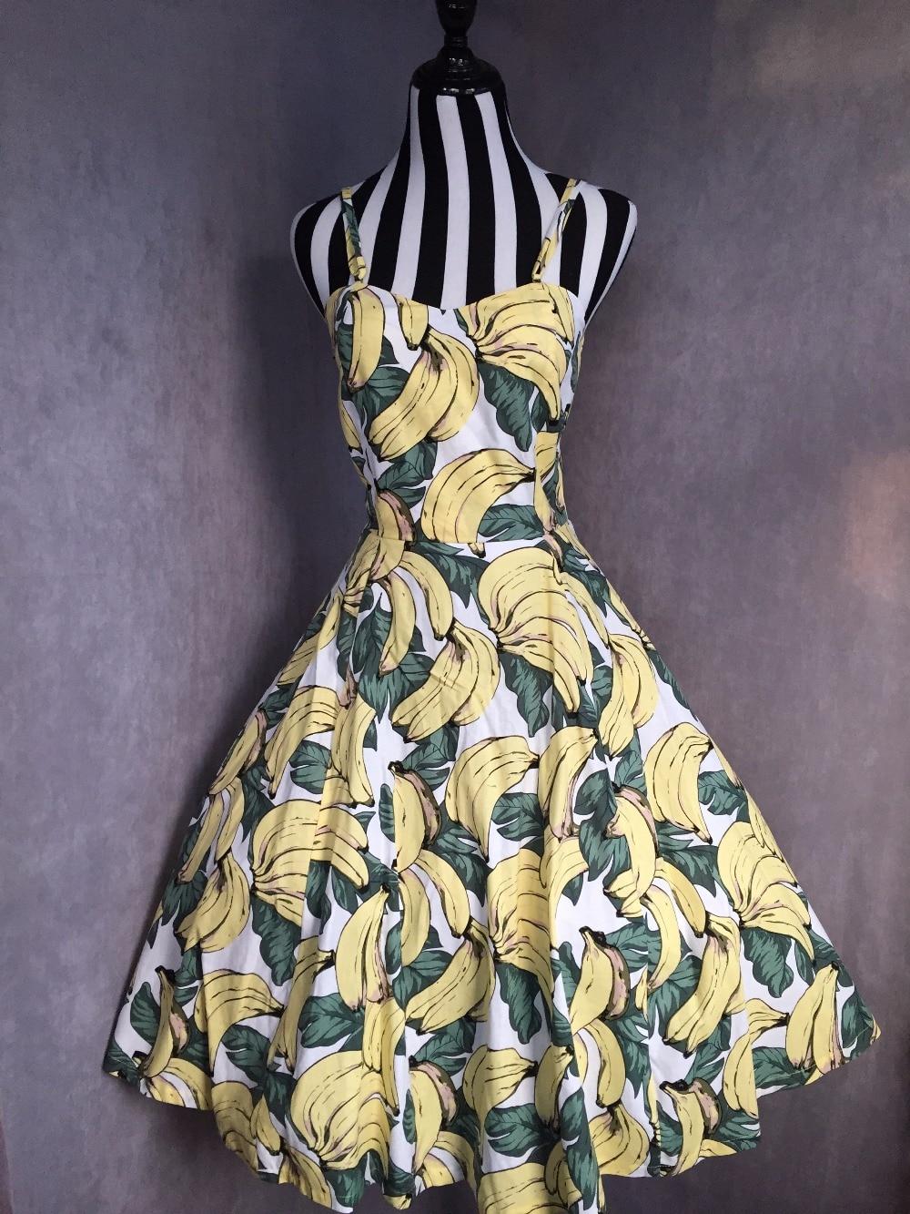 Della Jurken Show Dress Sundress Swing Spaghetti Midi Vestido Stampa Pinup S Rockabilly Size Dell'annata Cinghia Estate Banana 50 Di Gialla As Plus Donne wP4RBB