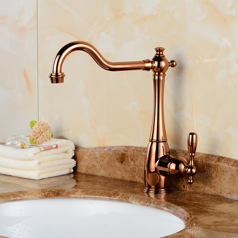 Brand Quality Rose Golden Kitchen Faucets Tall Basin