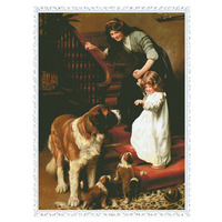 Cross Stitch Kits Embroidery Woman And Girl Dog Home Decoration Sewing DIY DMC14CT unprinted