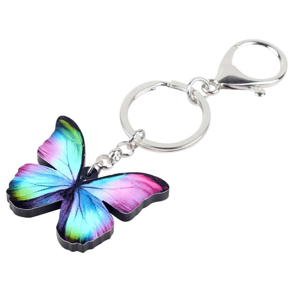 Bonsny акрил красочные голубая бабочка брелки кольца Модные украшения для Для женщин Девушка Сумочка автомобиля кошелек насекомых Подвески