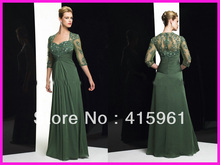 One Piece Green Long Sleeve Beaded Lace Plus Size Chiffon Mother of the Bride Dresses M650