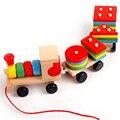 Montessori Brinquedos Do Bebê Para Crianças Arrastar Os Blocos Do Pequeno Trem De Empilhamento de Madeira Na Primeira Infância das Crianças Educacionais Brinquedos