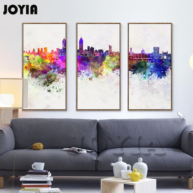 3 Piece Abstract City Skyline Watercolor Cityscape Map ...