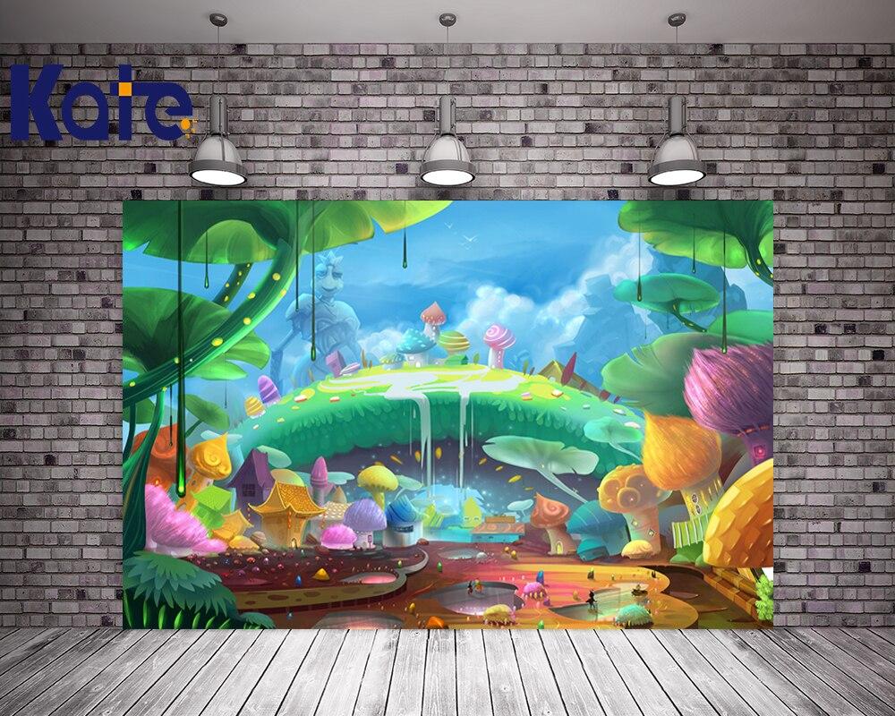 Impression numérique enfants photographie décors dessin animé champignon arbre Photo fond pour nouveau-né Studio toile de fond