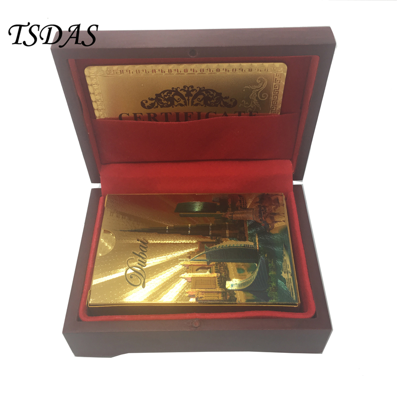 Unusual Gift Dubai Hotel Design 24K Gold Foil Playing Card With Wooden Box And Certificate NEW
