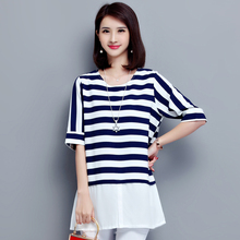 Chiffon Blouse Shirt Women 2017 Summer Striped Short Sleeve Shirts Female Faux Two Piece Ladies Tops Chemise Femme Plus Size 5XL