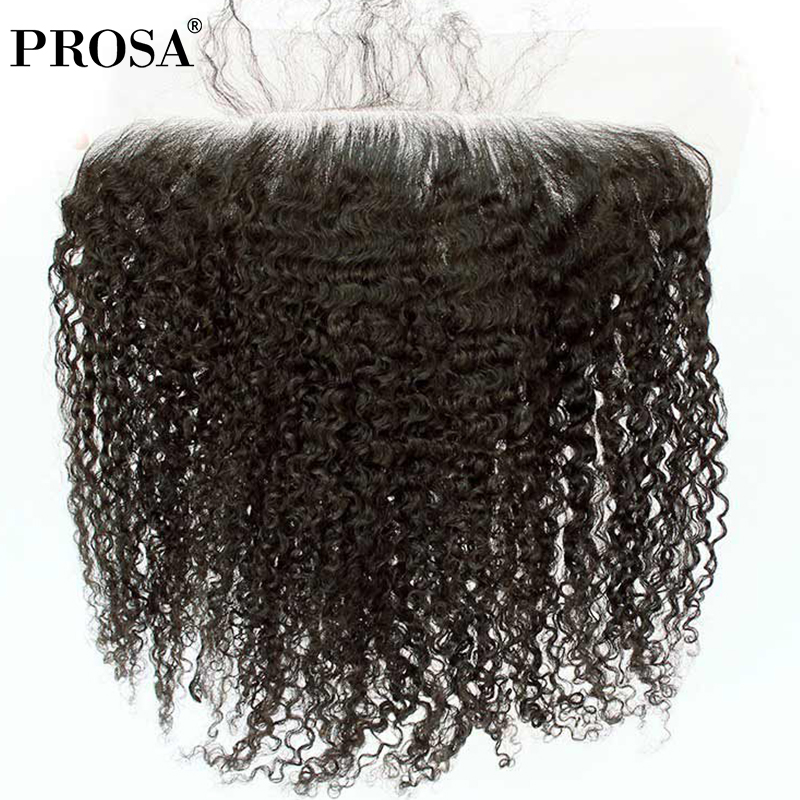 The Cheapest Price 13x4 Lace Frontal Closure Brazilian Hair 3b 3c Kinky Curly Human Hair Closures Bleached Knots With Baby Hair Prosa Remy Closures