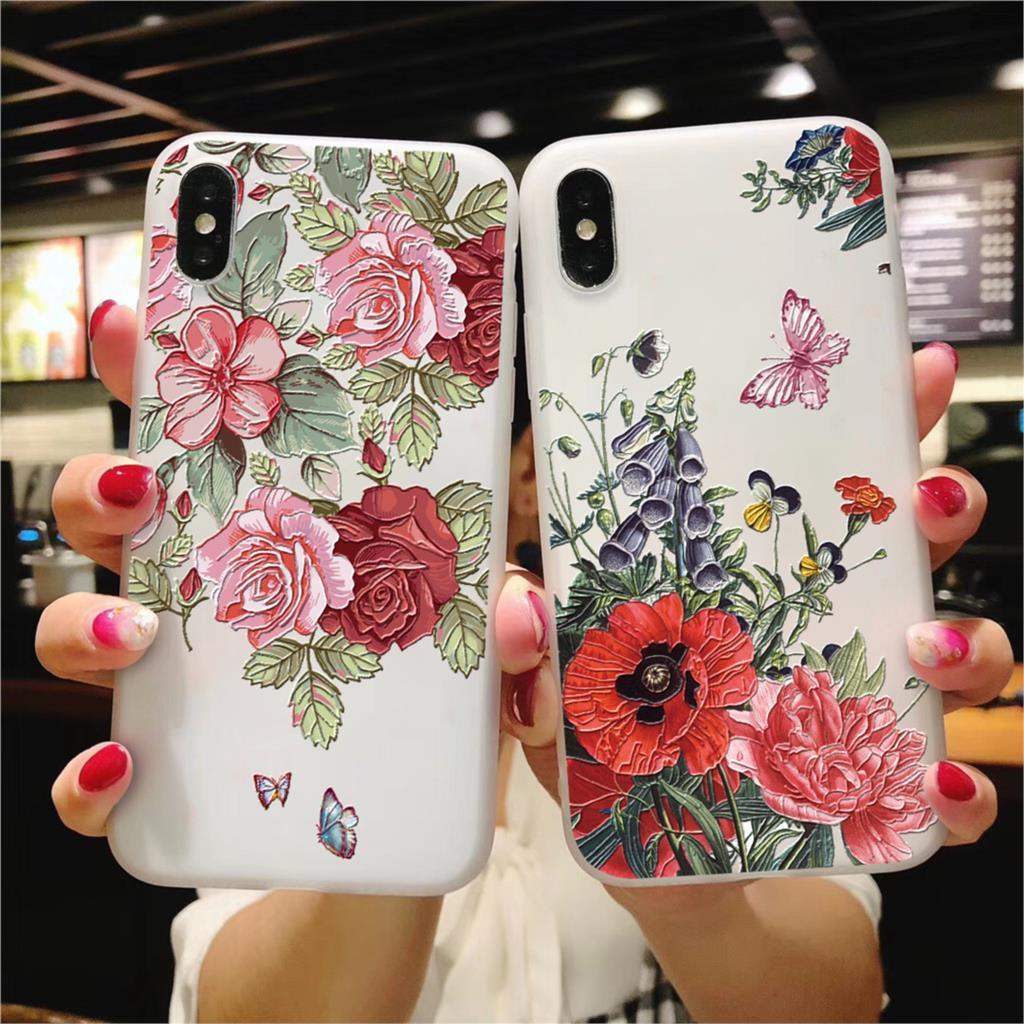 3D Emboss Matte Flower TPU For Huawei Honor View 20 8X 6A 10 7A Play 9 P30 P20 P9 P10 Pro Lite Mini 2017 P Smart 2019 Plus Case