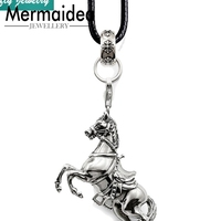 Leather Necklace War Horse Pendant Women Men 2019 New Brand Trendy Style Punk Rebel Jewellery Fashion Jewelry Gift Collares