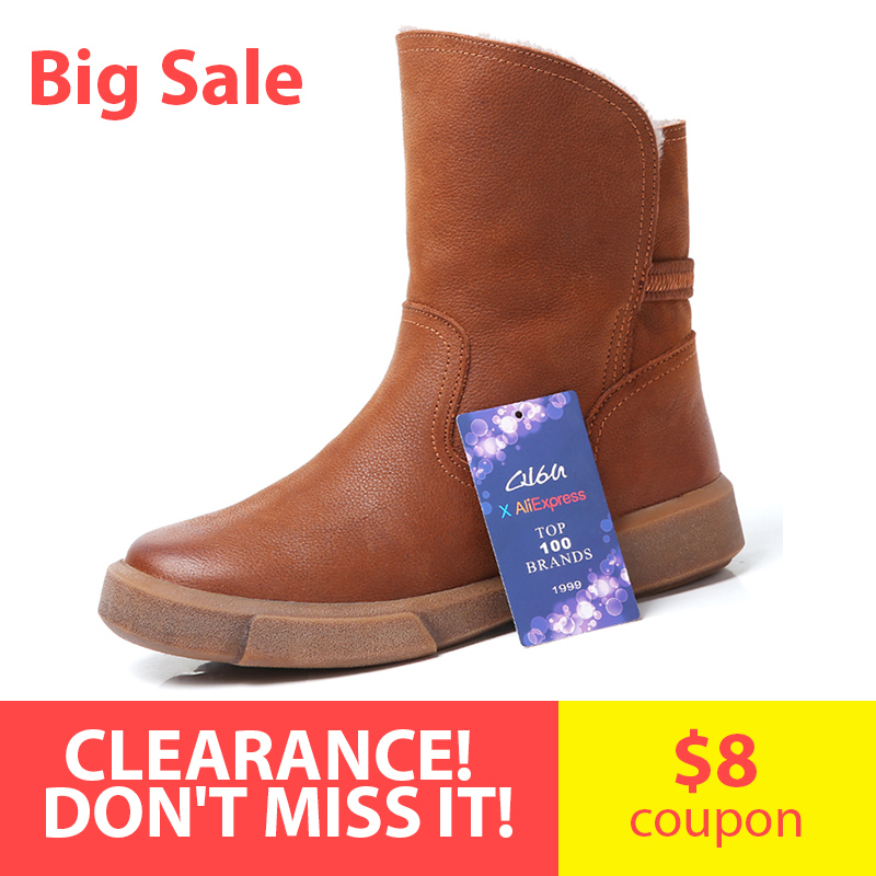 O16U Full Grain Leather Snow Boots Women Shoes Mid calf Short Boots Hand made Vintage Flats