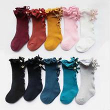Носки для малышей, детские штаны до колена, хлопковые кружевные детские носки до колена для маленьких девочек, теплые гольфы для девочек, носки с бантом и деревянными ушками для маленьких девочек