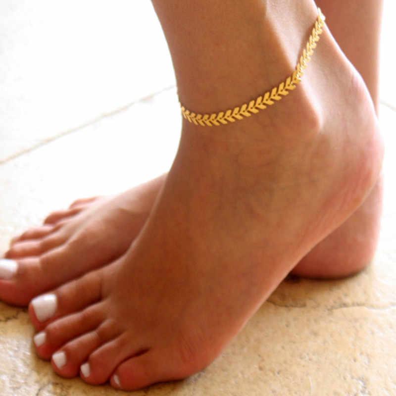 Hint Altın Renk Zinciri Oyulmuş Kalp Charm Bacak Halhal Kadın Ayak Bileği Bilezik Kadın Halhal Kadın ayak takısı Dropshipping