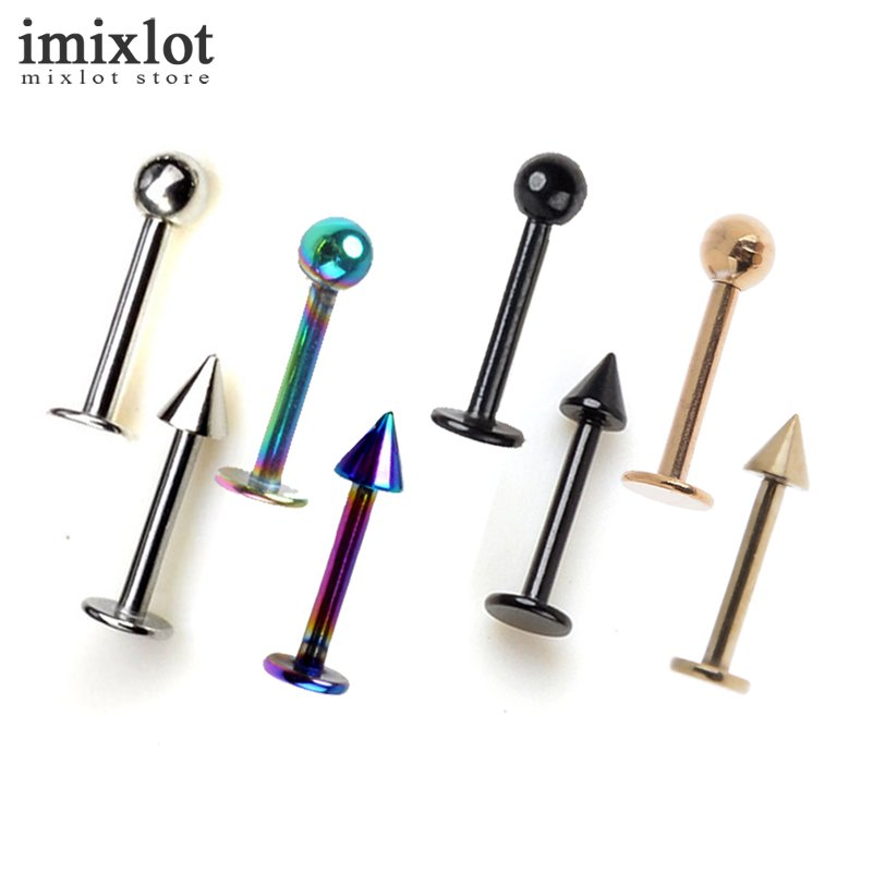 Imixlot 10Pcs 4Colors Surgical Steel Cartilage Piercing Ear Stud Tragus Helix Bar Top Upper Labret Lip Ring Body Jewelry