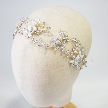 Antique Silver Bridal Hair Vine Crystal Headband Rhinestone Floral Wedding Headpiece Fashion Women Hair Accessories недорого