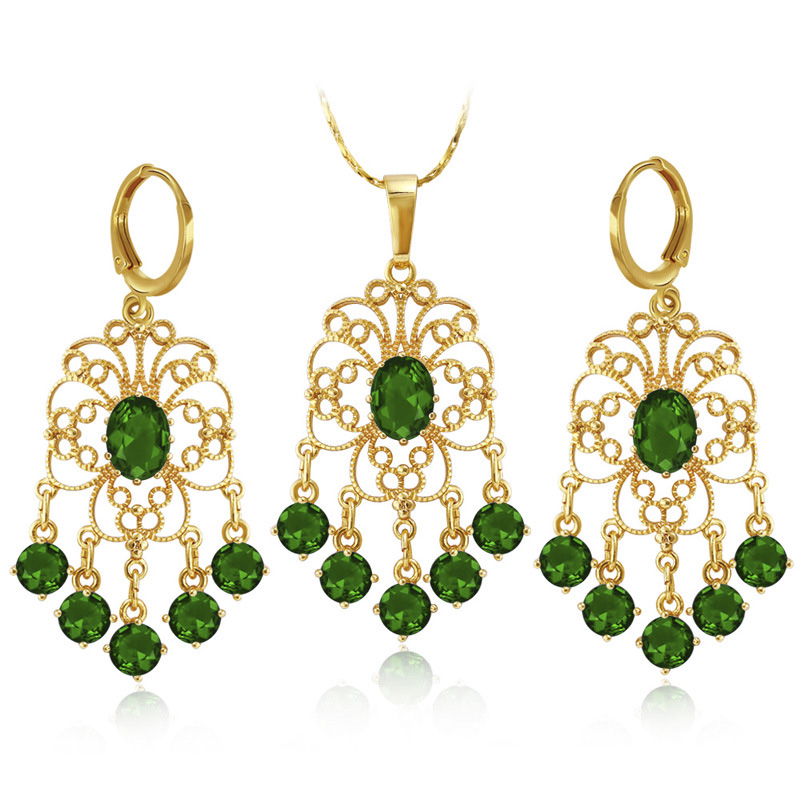 808 STORE Africa Hot Sale 24 Gold Jewelry Sets Charm Women Wedding Engagement Crystal Pendant Necklace Fashion Earring Jewelry цена