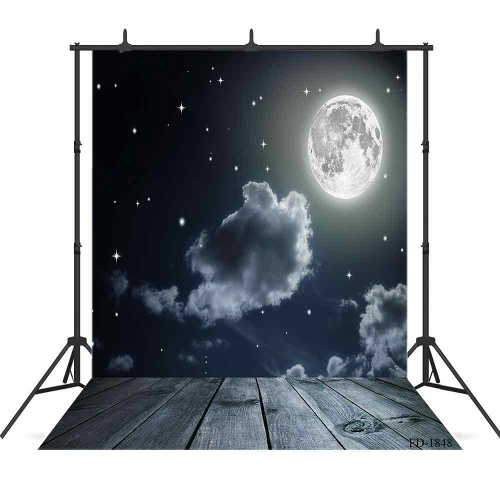 Луна Облака Звезды живописный деревянный пол фотографии фоны виниловые для